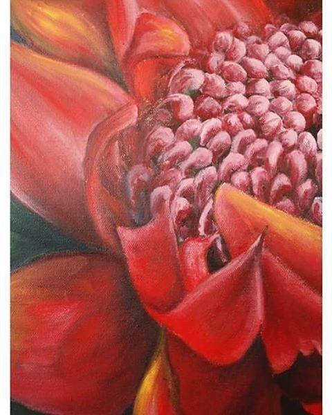 Detail of A Rare type of Protea: a red Serruria flower.  FOR SALE  #Protea #flower #originalart #ArtbyCarinaturckclark #painting #realistic #contemporaryart #red
