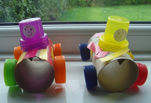 Race cars made from toilet paper rolls