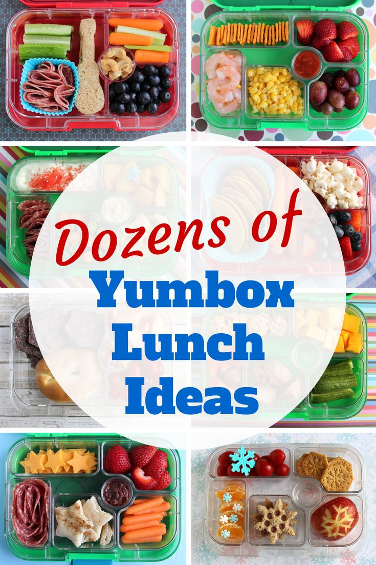 Dozens of photos of kids' lunches packed in Yumbox bento boxes. By Wendolonia.