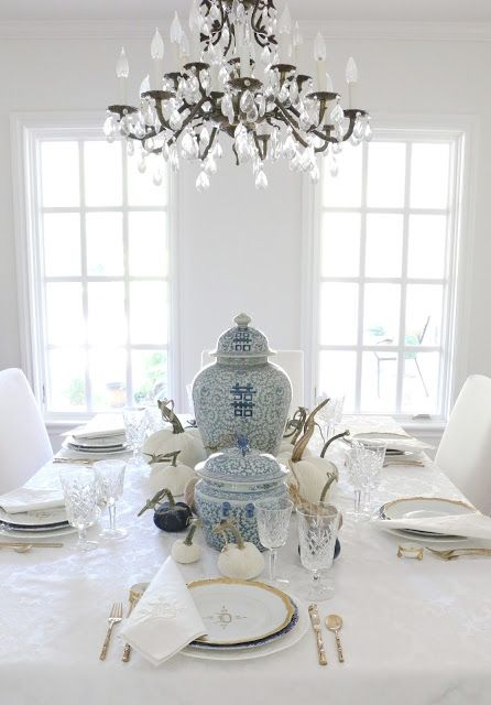 French Country Fall Home tour with Soft Surroundings and Romantic Homes Magazine // tablescape // table setting // blue and white
