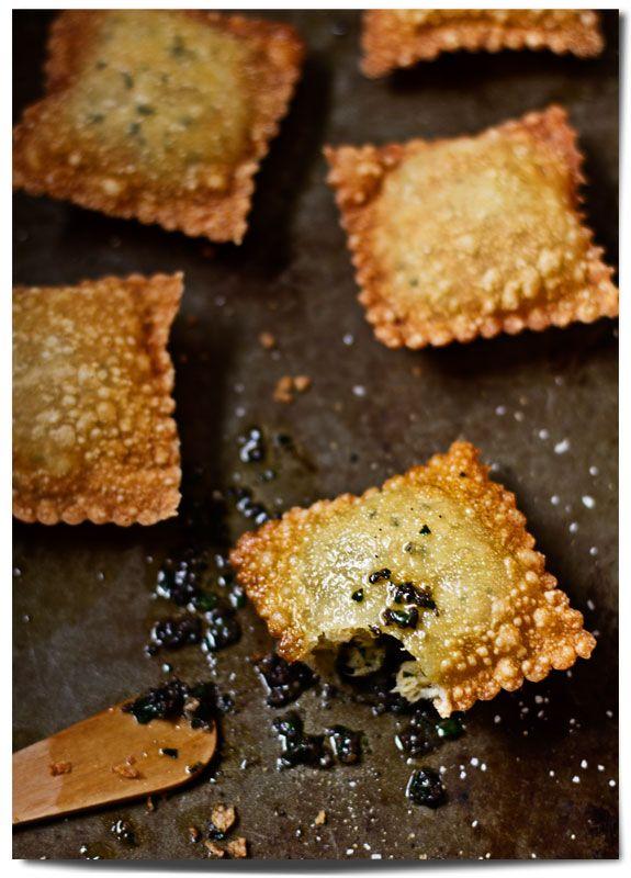 Deep Fried Salt Cod Raviolis! (salt cod, parsley, scallion, cream cheese, wonton wrapper)
