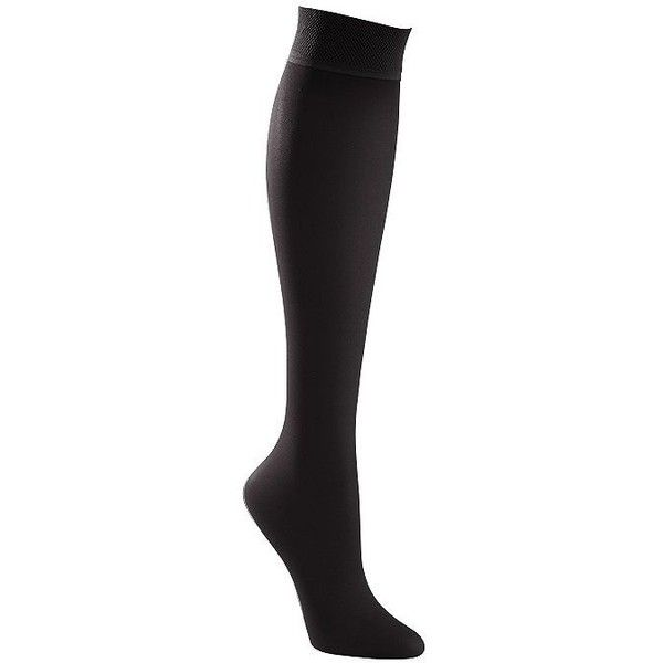 Women's Solid Compression Knee-High Stockings ($14) ❤ liked on Polyvore featuring intimates, hosiery, sheer hosiery, plus size hosiery, knee high hosiery, compression hosiery and travelsmith