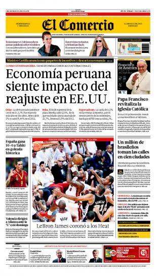 VIERNES 21 de JUNIO de 2013  (PORTADA DE EL COMERCIO)