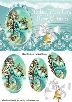 PRETTY SNOW SCENE WITH COTTAGE BELLS OVAL PYRAMIDS on Craftsuprint designed by Nick Bowley - PRETTY SNOW SCENE WITH COTTAGE