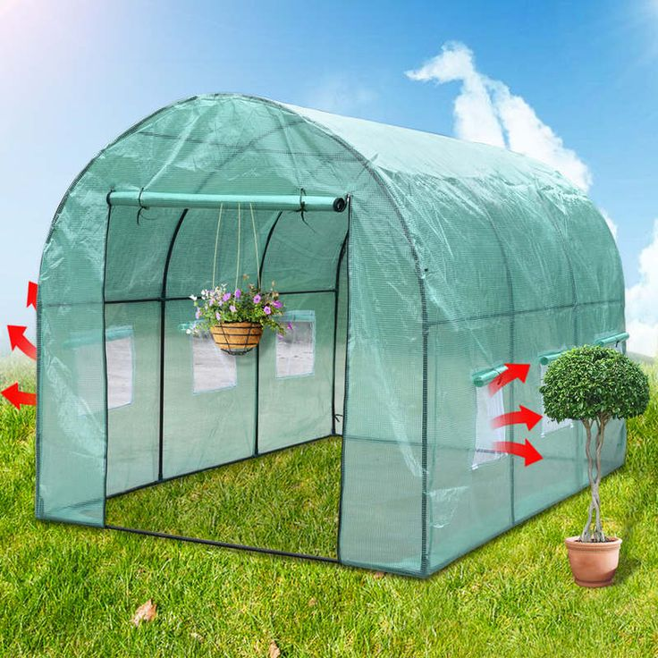 Walk In Garden Greenhouse w/ PE Cover in Green 2x3m | Buy Walk-In Greenhouses