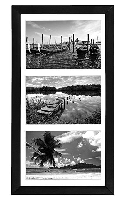 Collage Picture Frame 5x7 By Americanflat - Display Three Photos Sized 5x7 on Your Wall - Perfect As a Family Collage Picture Frame (8x16 Frame with 3 5x7 Openings)