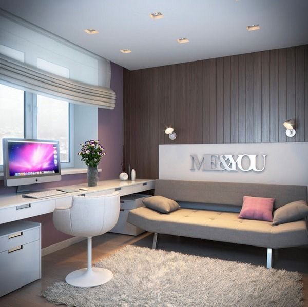 wall design bedroom furniture for girl modern wood cladding wall lilac color