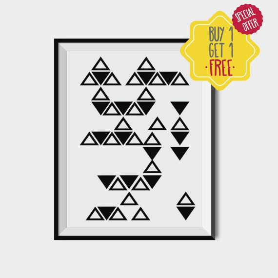 Black and white scandinavian print, Geometric wall decor, Triangle printable art, Shapes wall art, Minimal wall design, Minimal geometric art.  This listing is for an INSTANT DOWNLOAD of 2 JPEG files of this artwork. Just purchase the listing and your print is ready to download instantly. Why not print one for a friend, or just for fun?  Once you purchase the poster you will receive the following files:  - 1 JPEG high resolution (300 dpi) file 8x10 inches. - 1 JPEG high resolution (300 dpi)…