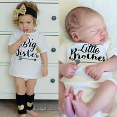 How adorable is this big sibling / little sibling shirt and bodysuit set?!  Any combination can be done; Big Sister / Little Sister, Big Sister / Little Brother, Big Brother / Little Sister, and Big Brother / Little Brother.  All sister shirts feature a gold sparkling heart.  This makes the perfect baby shower gift set and is just adorable for your baby's first photo's!  Shop the rest of our unique apparel and accessories HERE. ©Liv & Co.™