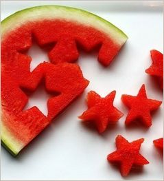 Great kids snack.  Get kids to join in and push shapes out of melons. Try stars, animals, hearts.