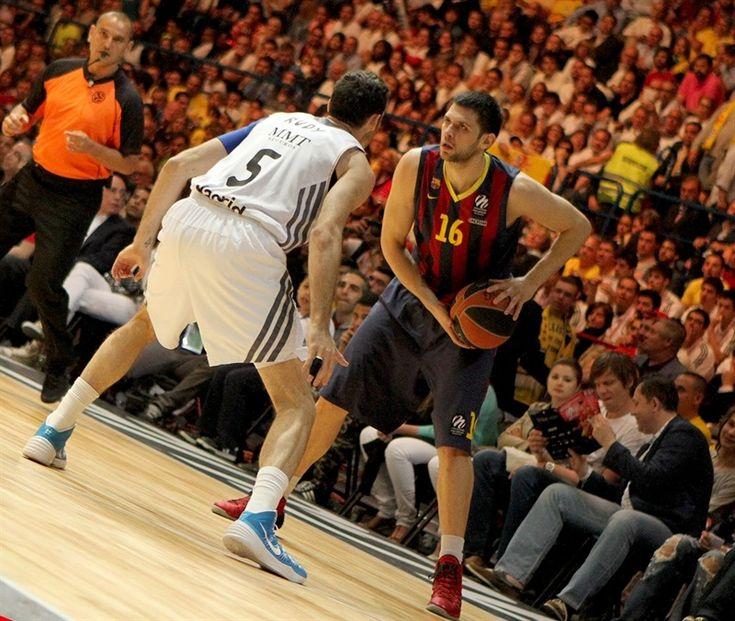 Kostas Papanikolaou, basketball player of FC Barcelona Baloncesto was wearing Nike Hyperdunk 2013 – University Red / Black – Wolf Grey during Euroleague semifinal match against Real Madrid Baloncesto 16.5.2014