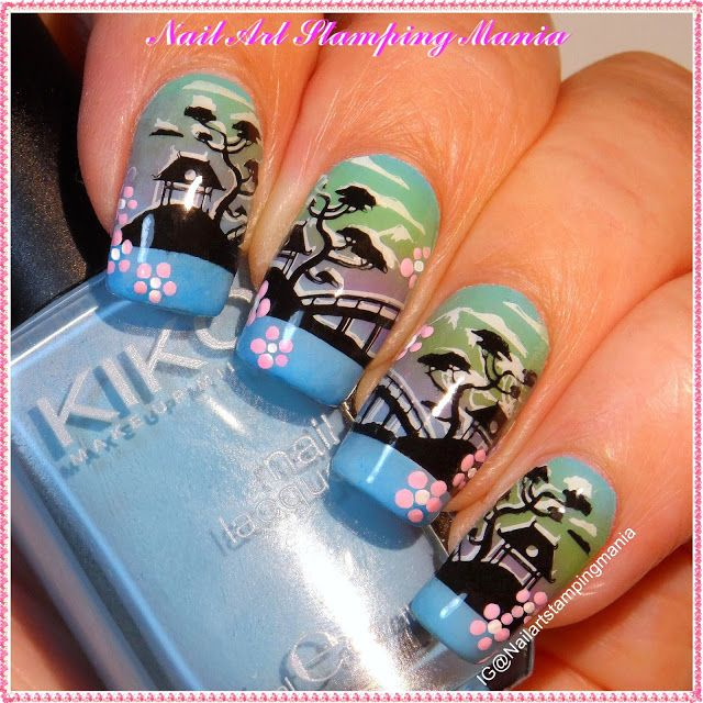 Nail Art Stamping Mania: Asian Landscape Manicure with UberChic Beauty The Far East 02