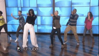 "Michelle Obama celebrated the fifth anniversary of the "" Let's Move ' campaign by dancing to ' Uptown Funk ' with Ellen DeGeneres"