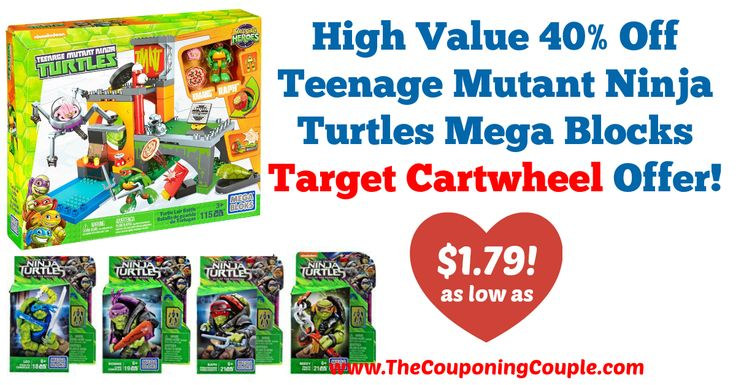 AWESOME PRICES!!! Don't miss out if you have a TMNT fan!! High Value 40% Off Teenage Mutant Ninja Turtles Mega Blocks Target Cartwheel Offer + Deal!  Click the link below to get all of the details ► http://www.thecouponingcouple.com/high-value-40-off-teenage-mutant-ninja-turtles-mega-blocks-target-cartwheel-offer-deal/ #Coupons #Couponing #CouponCommunity  Visit us at http://www.thecouponingcouple.com for more great posts!