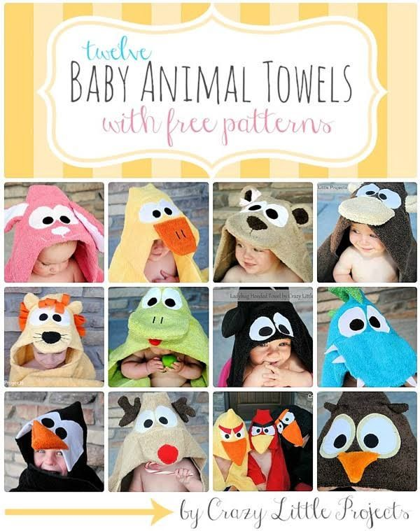 Ok, so we really love baby crafts. These adorable baby animal towels are just too cute. There are tutorials at U Create to make just about any animal that you want. They are hooded towels (much like the ones that you can buy in the store except these are extra special because they're homemade)...