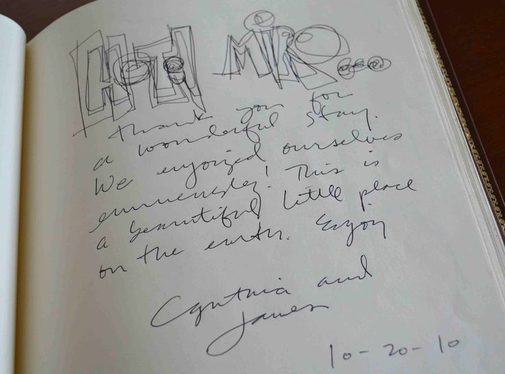 Guest Book at Miró Hotel
