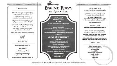 """Engine Room: If you happen to visit Engine Room's Facebook page, you will see a solid wall of """"well done!""""s and """"thumbs up!""""s. Everybody loves Mystic's newest dining spot. Of course, we could have predicted this. Engine Room is brought to us by the team behind the ever-popular Oyster Club. They renovated the old, not-so-good Riverwalk and, voila, it's fantastic."""