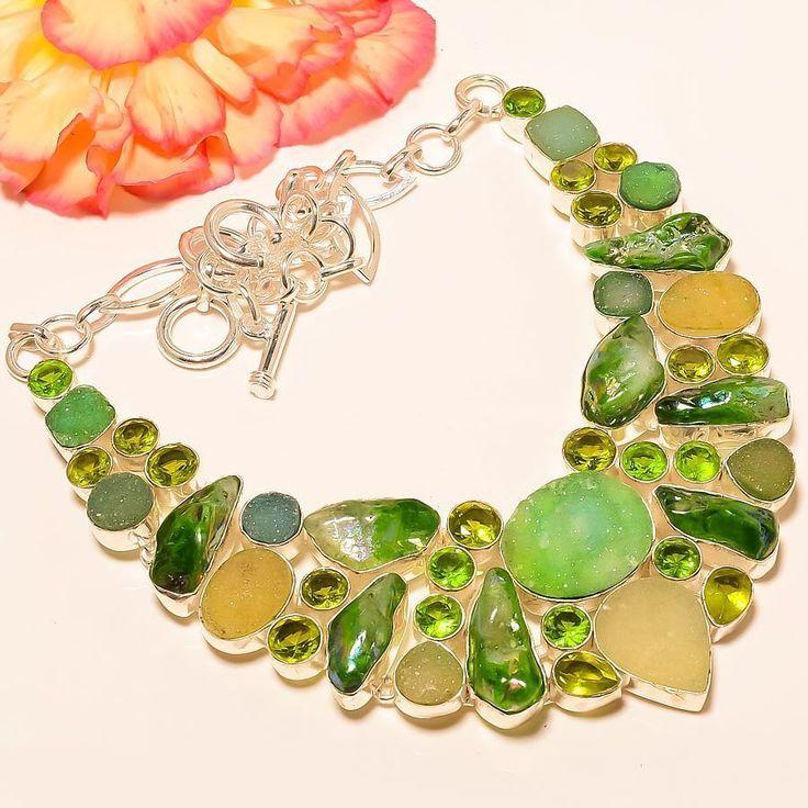 "Agate Druzy, Aventurine Rocks, Peridot 925 Sterling Silver Jewelry Necklace 18"" #Handmade #Choker"