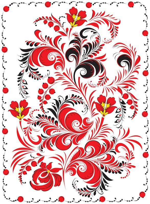 Folk Khokhloma painting from Russia. A floral pattern in red and black colours…