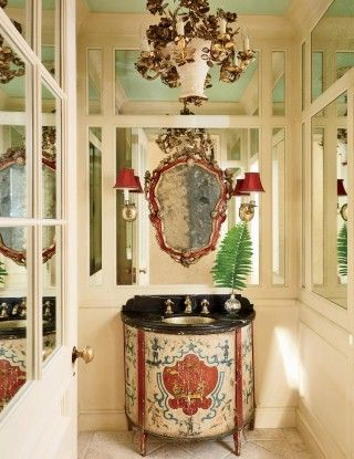 Traditional Bathroom By David Easton Inc. And Addison Mizner In Palm Beach,  FL The Powder Room Features An Italian Mirror Crafted Around A Florentine  ...
