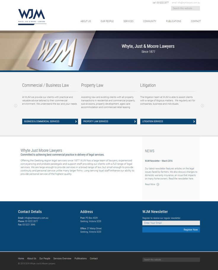 A beautiful corporate website.  One of Geelong's leading law firms, WJM Lawyers needed a website that would position them in the field and build trust with potential clients.  A clean, corporate design beings a professional look and feel while clearly providing information visitors need.