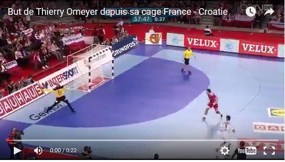 Le but de Thierry Omeyer depuis sa cage lors de France-Croatie Handball: but de Thierry Omeyer depuis sa cage lors de France-Croatie L'alsacien Thierry Omeyer est un roc, un rempart, une sorte de Manuel Neuer du handball. Samedi face à la Croatie, au...