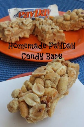 Homemade PayDay Candy Bars- use salted almonds/cashews and sunbutter instead of peanut butter.  At last I can have these again!