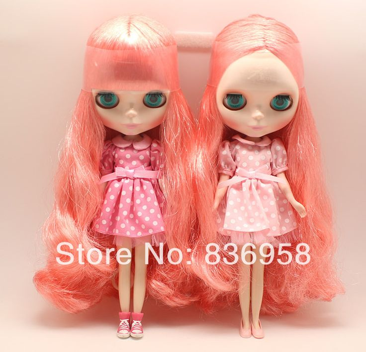Orange Long Curly Hair Red Skin Nude Blythe Doll $65.00