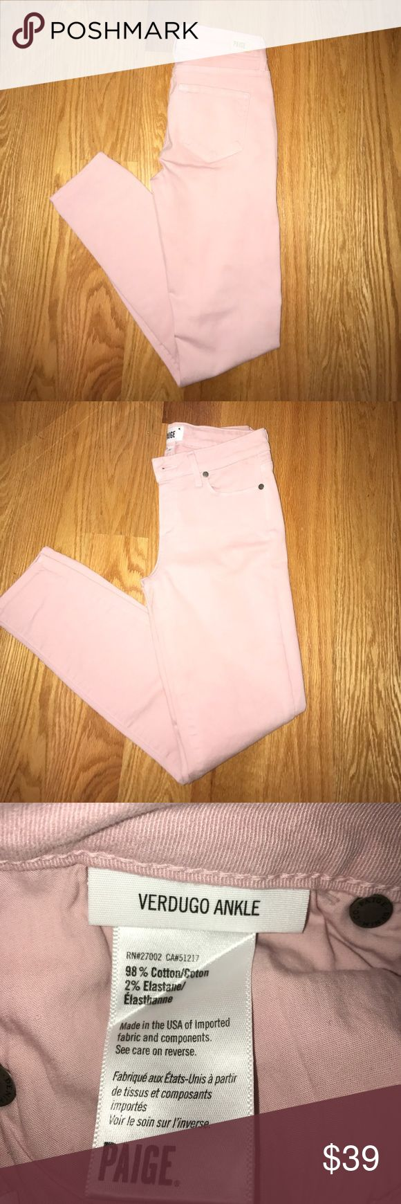 """Paige Verdugo skinny ankle jeans in Spanish Rose Brand new never worn jeans. Nice stretchy fabric. Pretty dusty pink. 27"""" long. Rise 8"""". Paige Jeans Jeans Ankle & Cropped"""