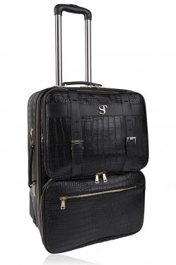Bsolo Suitcase Black Croc/Gold