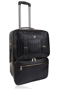 Bsolo Suitcase Black Croc/Gold