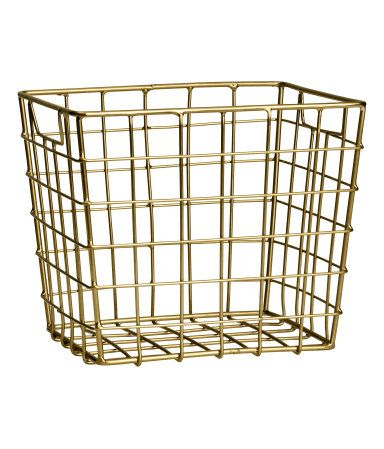 Gold Metal Storage Basket