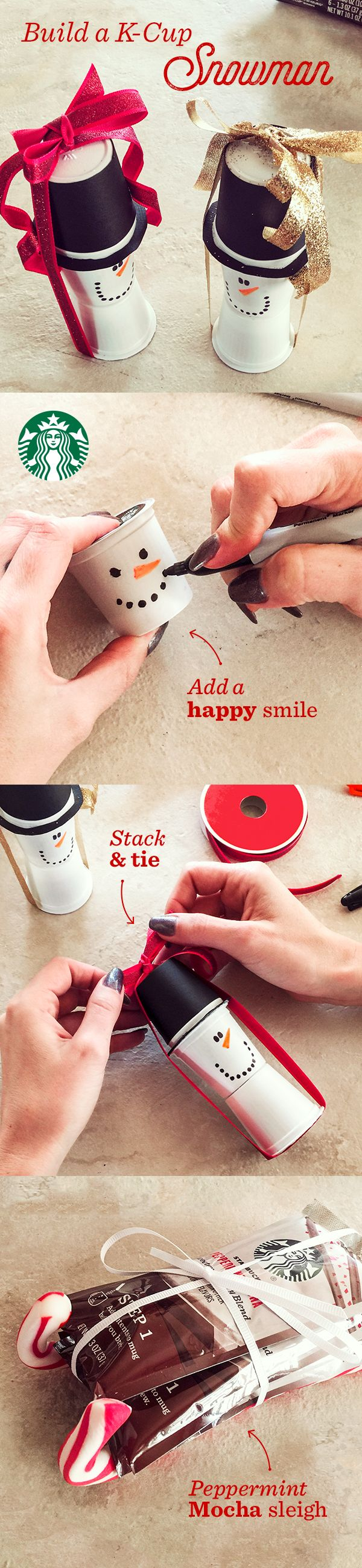 Stack your Starbucks K-Cup pods  to make a snowman—a perfect decoration, table topper or gift. Start with three pods of any coffee. Using felt-tip markers, give the snowman a happy grin on a blank pod. Next, wrap the second pod in construction paper to create the hat. Now, simply stack the three pods and wrap with a piece of ribbon, tied tightly to keep the snowman together. Bonus points for building a sleigh out of a flavor packet or VIA Instant packet with candy cane rails.