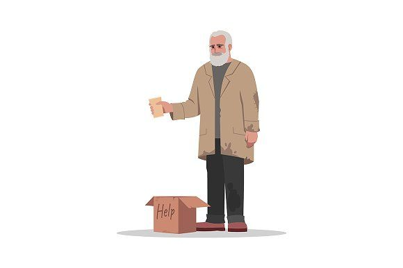 Homeless Man Beg For Money Person Cartoon Homeless Man Man Illustration