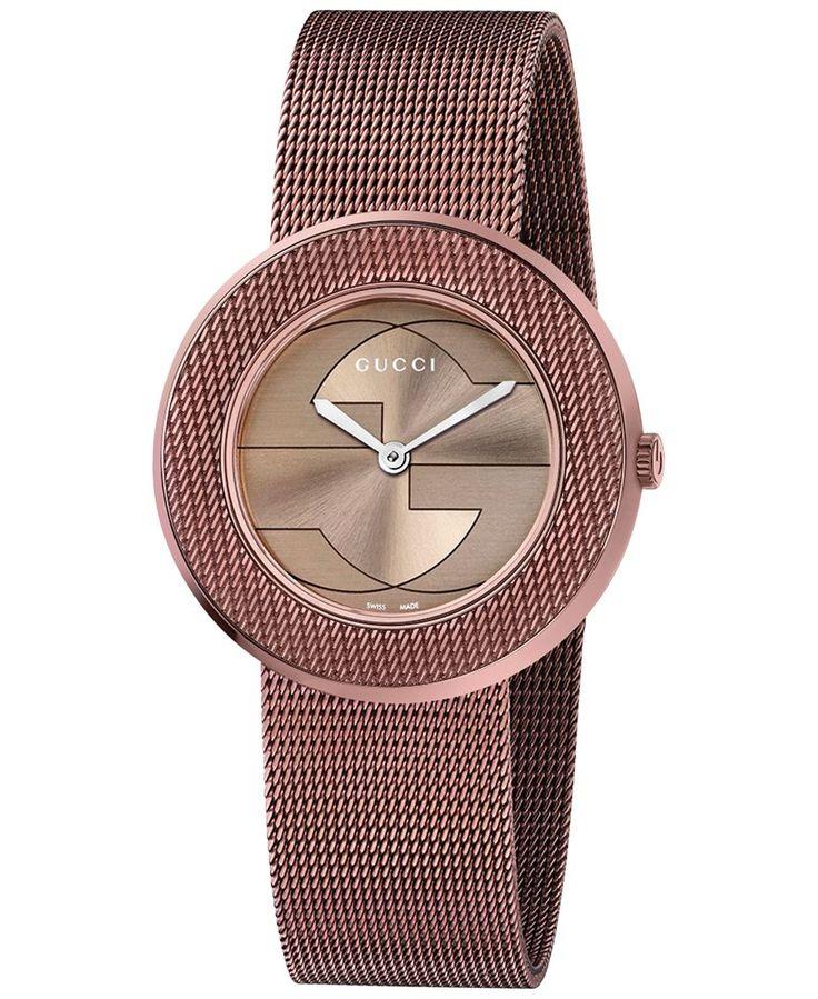Gucci Women's Swiss U-Play Brown Pvd Mesh Bracelet Watch 35mm YA129445