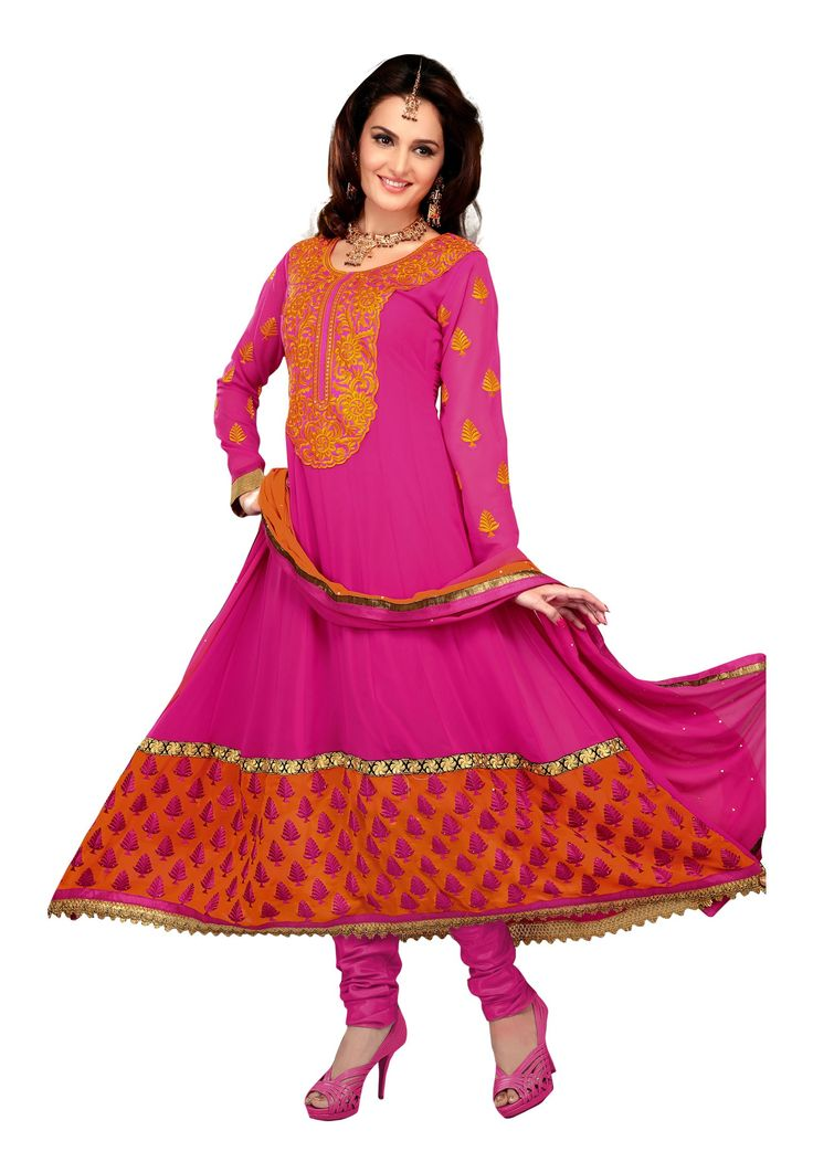 Magenta Colored Pure #Georgette Yes Semi-Stitched #Salwar Suit Drape yourself in this alluring suit that really appels gazing looks as you step in any special gathering! The suit is crafted with pure georgette on its top & santoon inner & bottom with chiffon dupatta. It hugs magenta color shades which is desired by each and every women.  @aimdeals