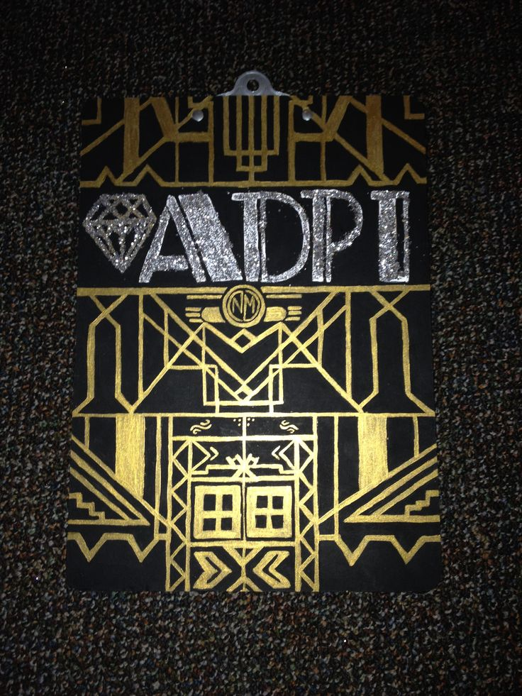 The Great Gatsby Sorority clipboard craft Alpha Delta Pi