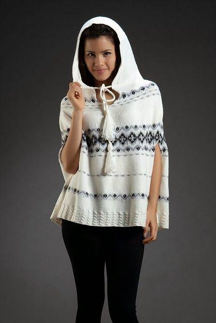 Bayan Moda Giyim Gor: Beyaz Panço Örgü Modeli