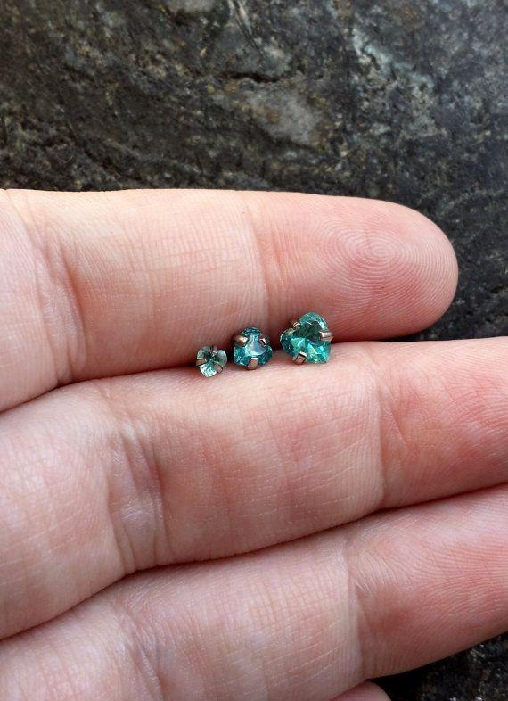 "Single or SET !! Aqua Hearts 16 gauge (1.2mm) 1/4"" (6mm) Barbell Tragus Triple Piercing Helix Cartilage Jewelry Forward"