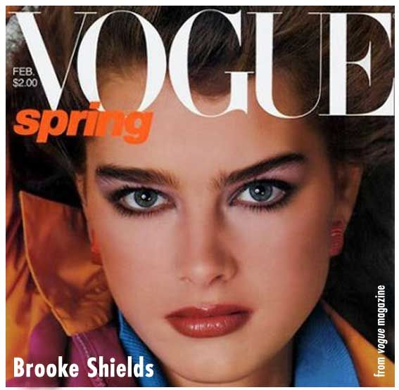 Eyebrow icon - probably the best brows ever! Though the powerful, over-the-top brow had largely disappeared during the '60s and '70s, Brooke Shields brought it back in the 80's, adding wildness to conventional beauty.