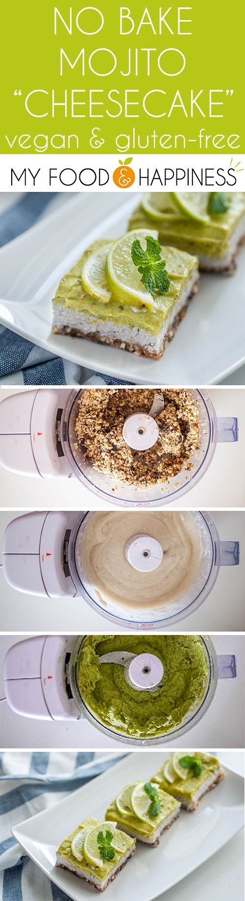 No bake Vegan & Gluten-free Mojito Cheesecake! Delicious guilt-free vegan cheesecake with nutritious ingredients that remind of the taste of the classic cocktail! No nut pre-soaking is required, this cheesecake requires less than 30 minutes prep work!