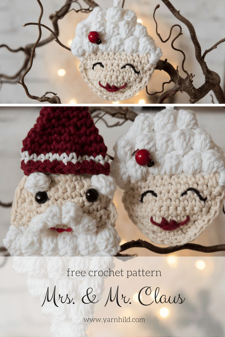 Mrs. & Mr. Claus crochet ornament - Free pattern in Norwegian and English