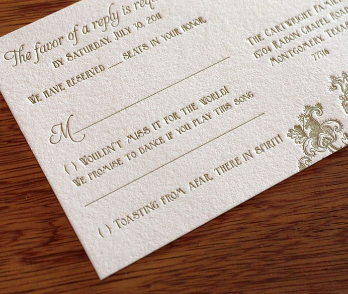 Romantic And Whimsical Gold Letterpress Lace Inspired
