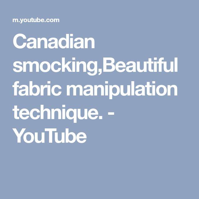 Canadian smocking,Beautiful fabric manipulation technique. - YouTube