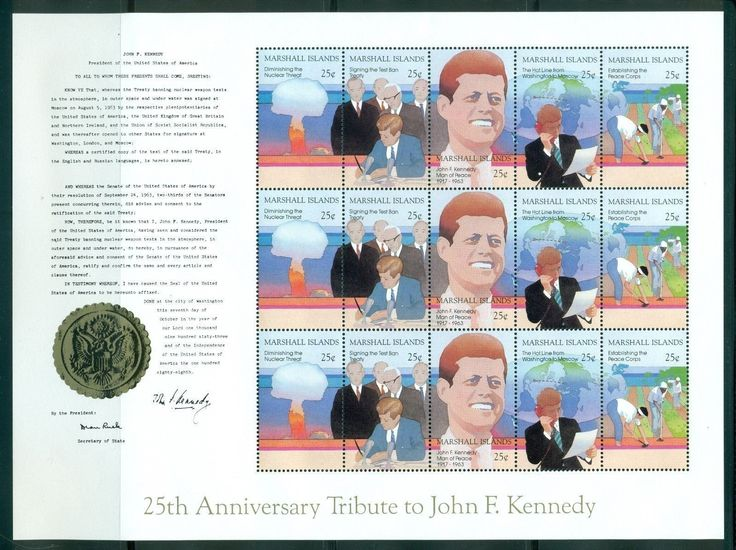 Marshall Islands 1988 M Sheet 5x3 Stamps MNH J F Kennedy MI NO 194 198KB | eBay
