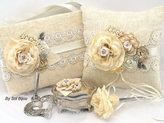 Ring Bearer Pillow Ivory Tan Beige Champagne Elegant by SolBijou