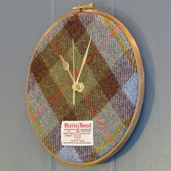 Harris Tweed Clock Macleod Tartan by JuniperandJane on Etsy, £49.95