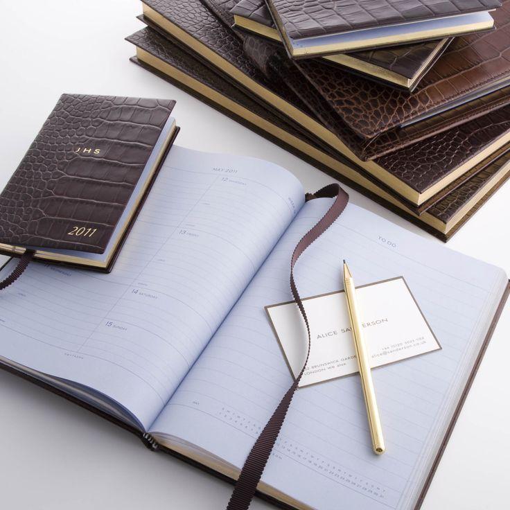 Brown Mara Desk Diary, 2011 www.smythson.com #Paper #diary #soho #Featherweight #Smythson #Panama