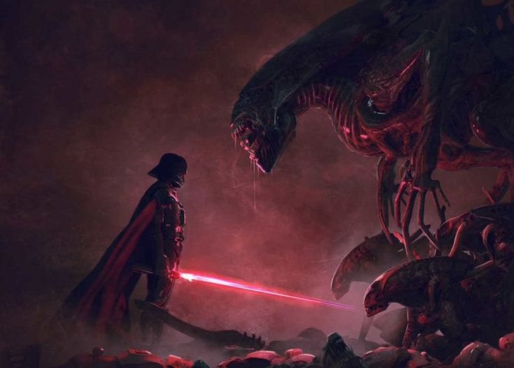 Conceptual artist Guillem H. Pongiluppihas created an epic fan art series  for Star Wars and Aliens. The illustrations feature Darth Vader and his  Stormtroopers battling a horde of xenomorphs. There's even one of Vader  coming face to face with the Alien Queen. This is some impressively badass  art, and you can see more of the artist's work here.  Via: UFunk