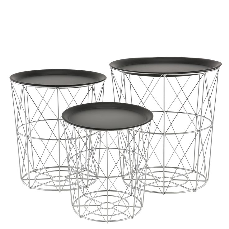 [en.casa] Panier Métallique Table D'appoint Basse Lot De 3 Décoration Design